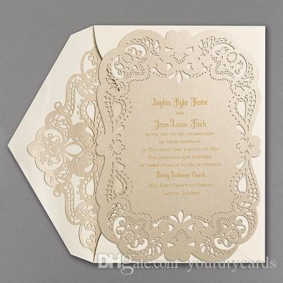 fancy laser cut invitation card floral hollow out wedding