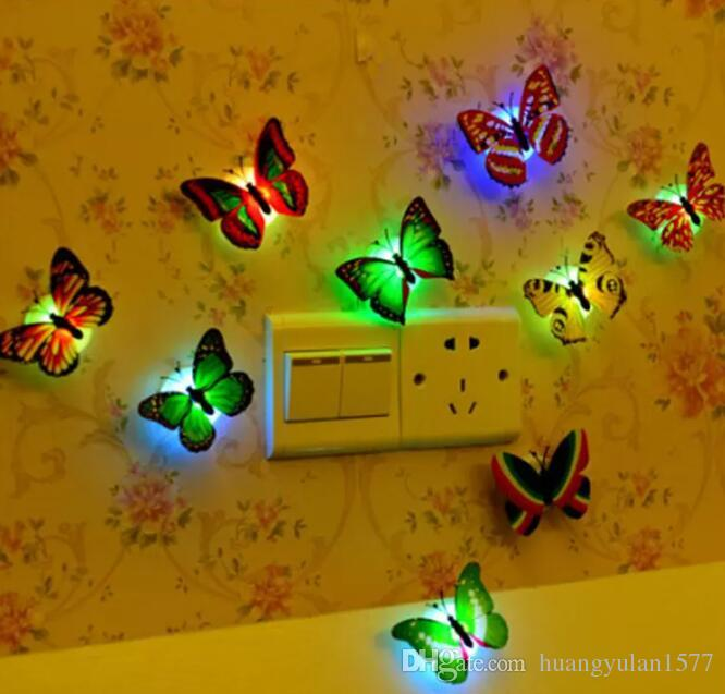 LED Night Light 3W LED Butterfly Dragonfly Stick-On Lamp Wall Light Colorful Fiber Optic Night Lights Halloween Christmas Decorations 2017