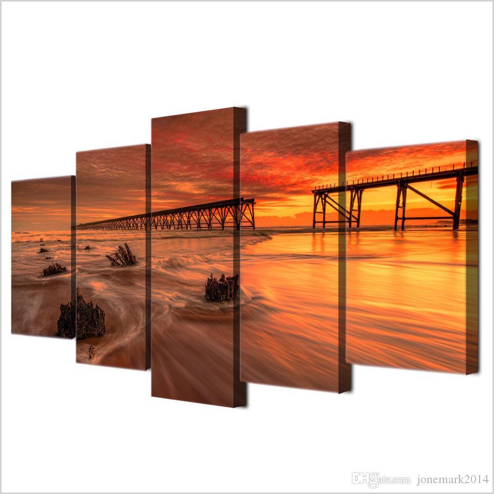 5 Adet / takım Çerçeveli HD Baskılı Okyanus Günbatımı Tuval Sanat Modern Baskı Boyama Posteri Resim Ev Dekor Için Üreme Boyama