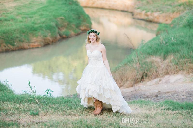 2017 Ivory Full Lace High Low Country Wedding Dresses Sweetheart Tiered Skirt Plus Siz Bridal Gowns Plus Size Lace Up Back Real