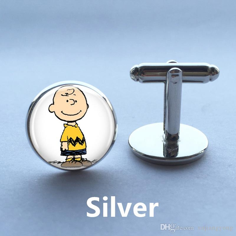 Charlie Brown Cufflinks The Peanuts Jewelry Cartoon Character Cufflinks  Glass Cufflinks Sleeve Buttons Birthday Gift