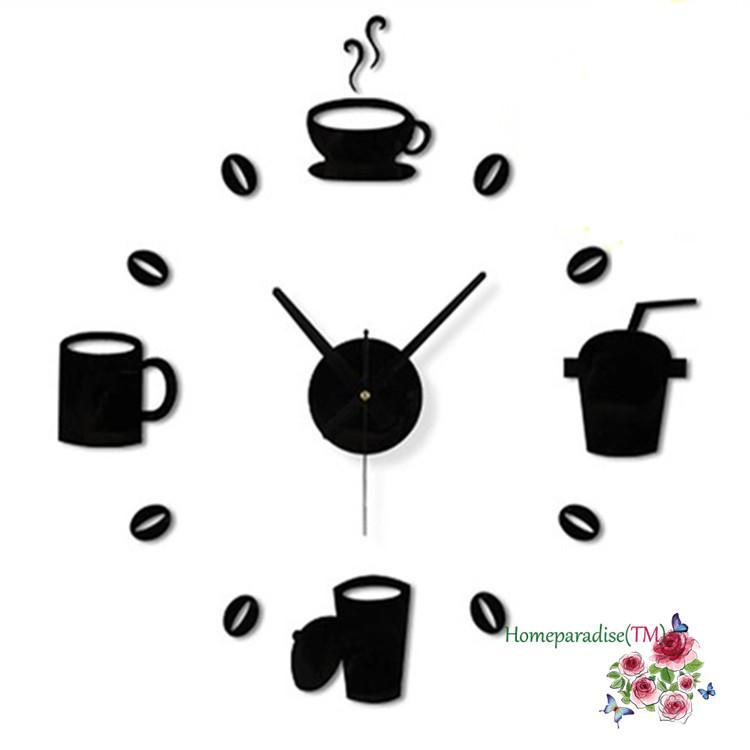 Acheter Vente En Gros Café Tasses Cuisine Mur Art Horloge Design
