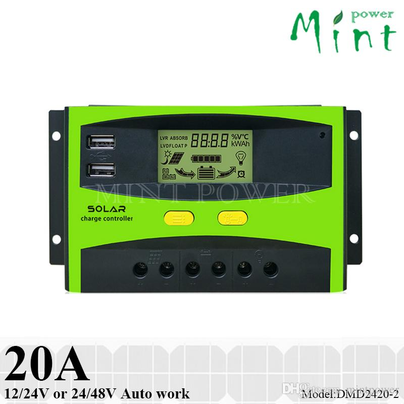 20A PWM solar charge controller dual USB port 12V/24V or 24V/48V auto work umanized LCD display ,three-stage charging