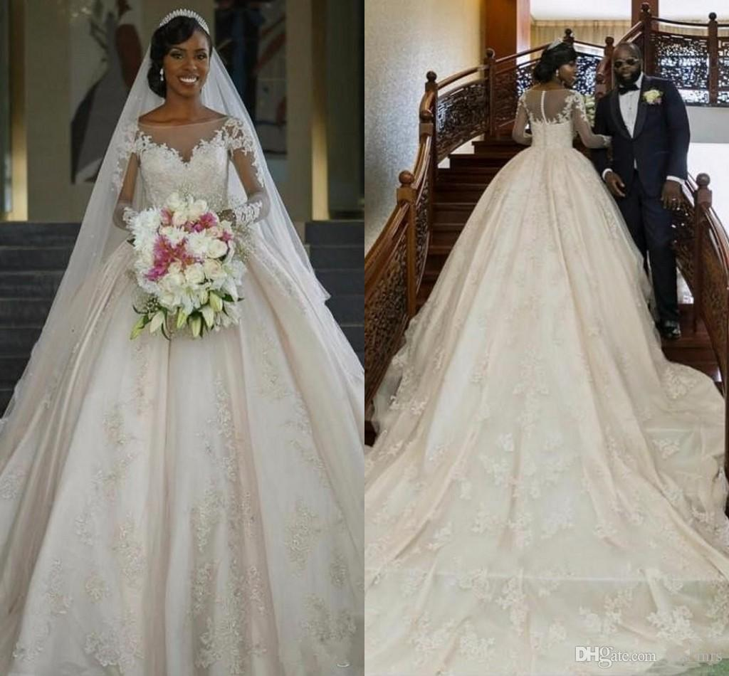 Gorgeous Sheer Ball Gown Wedding Dresses 2017 Puffy Beaded: 2017 Sexy New Ball Gown Wedding Dresses Jewel Neck Long