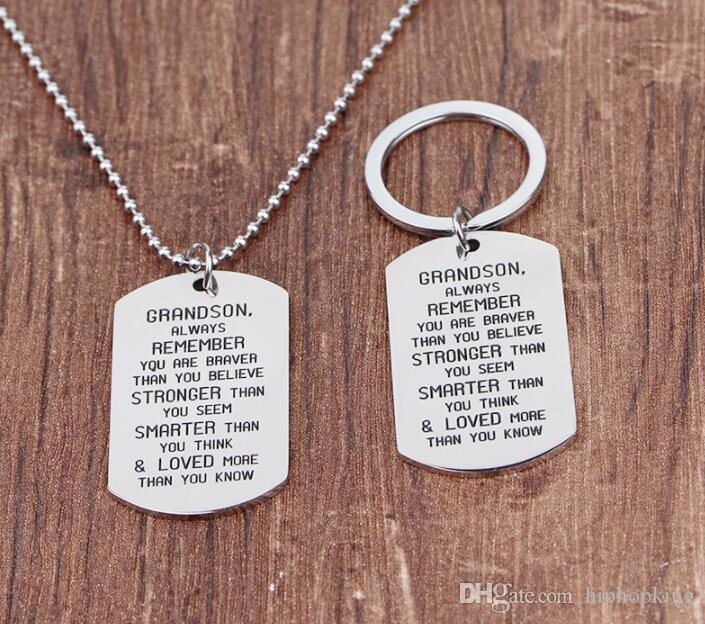 Wholesale Keychains Alphabet Necklace Grandson Always Remember You