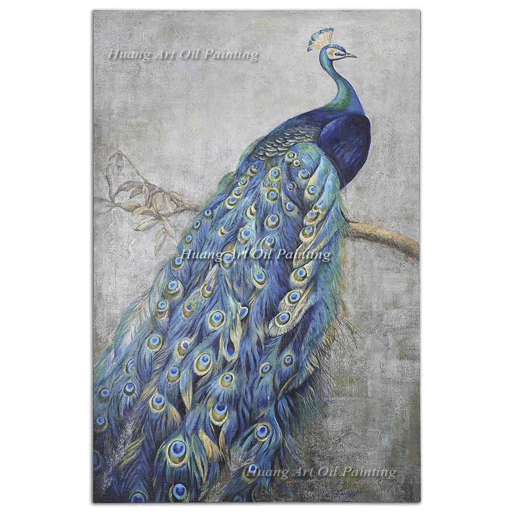 original hand painted nobl blue peacock oil painting on canvas
