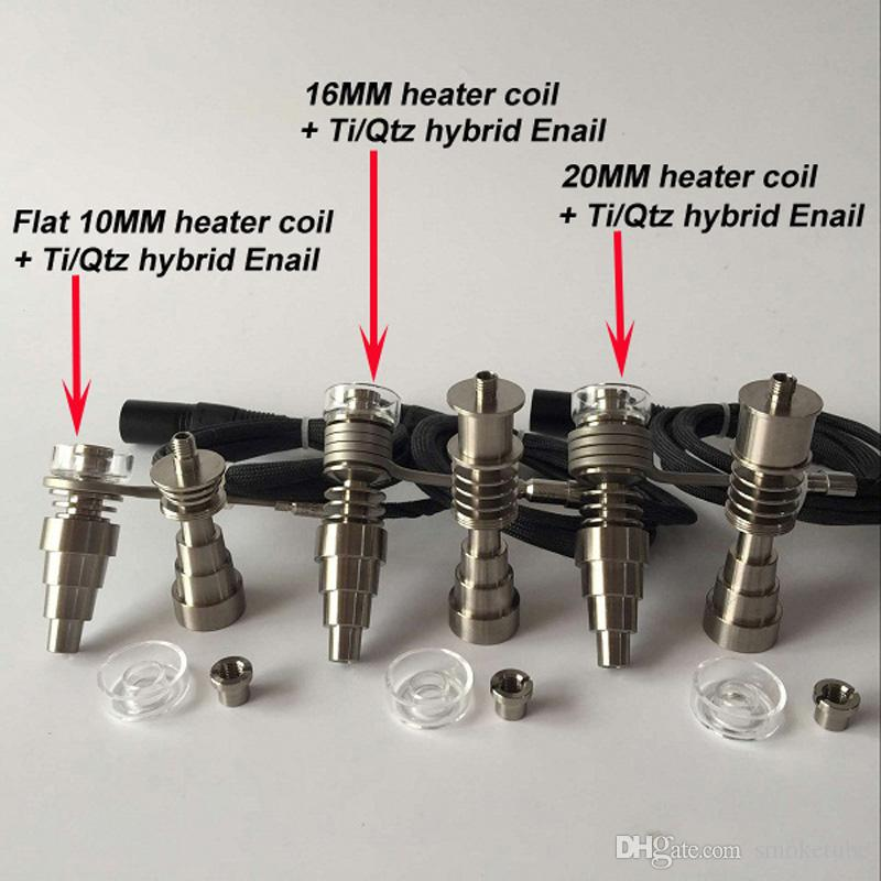 New upgrade E Digital Nail Kit Ti/Qtz hybrid nail fit flat 10mm/16mm/20mm heater coil for oil rigs bong DHL free