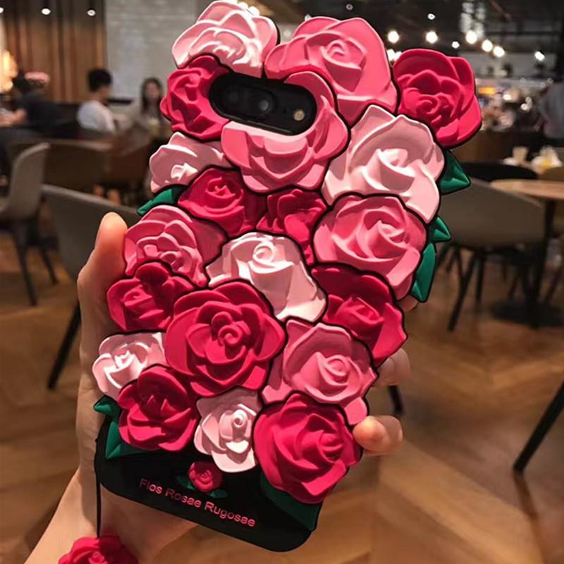 2017 Moda atractiva chica de simulación de perfume lápiz labial rouge 3D Rose sale de la flor flowe la cubierta del caso para Iphone 6 6S 7 más suave