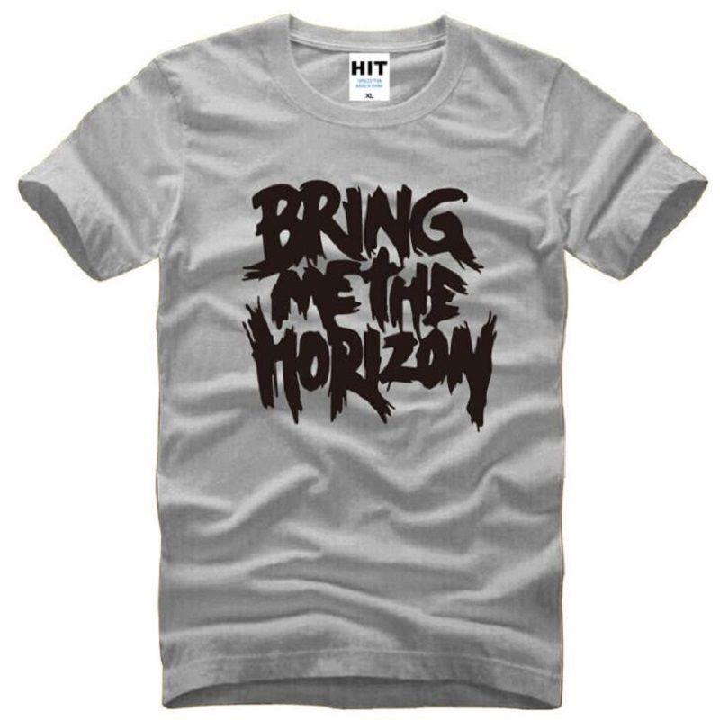 Verão Traga-Me O Horizonte T-shirt Dos Homens de Algodão de Manga Curta de Metal Rock Carta Impresso T-Shirt dos homens de Moda Música Rock Top Tees