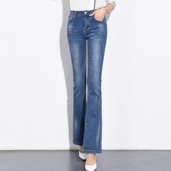 Compre Pantalones Acampanados Para Mujer Mas El Tamano Jeans De Mezclilla Casual Otono Primavera Nueva Moda De Longitud Completa De Cintura Alta Pantalones De Mezcla De Algodon Hembra Tyn0708 A 25 09