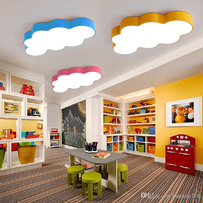 DHgate.com & LED cloud kids room lighting children ceiling lamp baby ceiling light with yellow blue red white color for boys girls bedroom fixtures