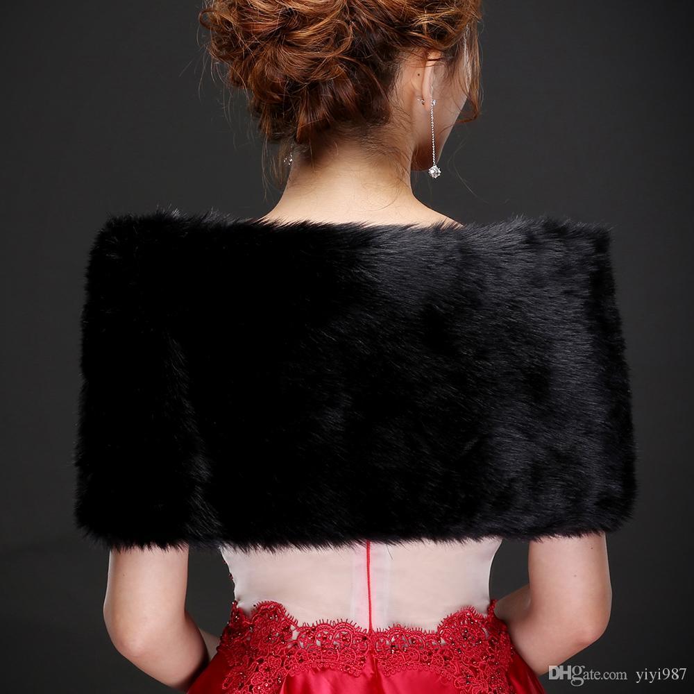 Foto reali Sexy Nero Faux Fur Caldo da sposa Bolero Giacca da sposa Cappotti da sposa avvolgere scialle Mantello da sposa Mantello all'ingrosso