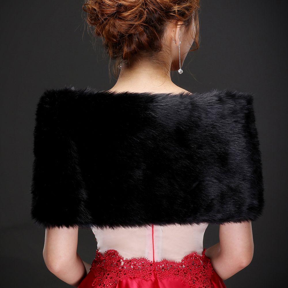 Real photos Sexy Black Faux Fur Warm Bridal Bolero Wedding Jacket Coats Bridal Wraps Shawl Wedding Cape Cloak Wholesale