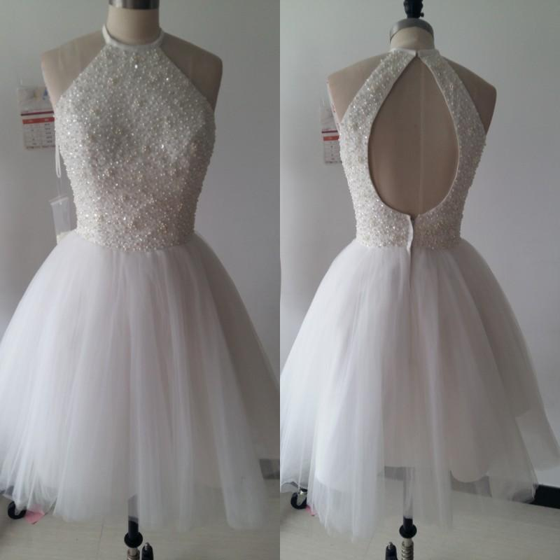 2017 Luxury Short Prom Dresses A-Line Beading Pearls Homecoming Dresses Keyhole Backless Zipper Party Gown Guest Dresses With Free Necklace