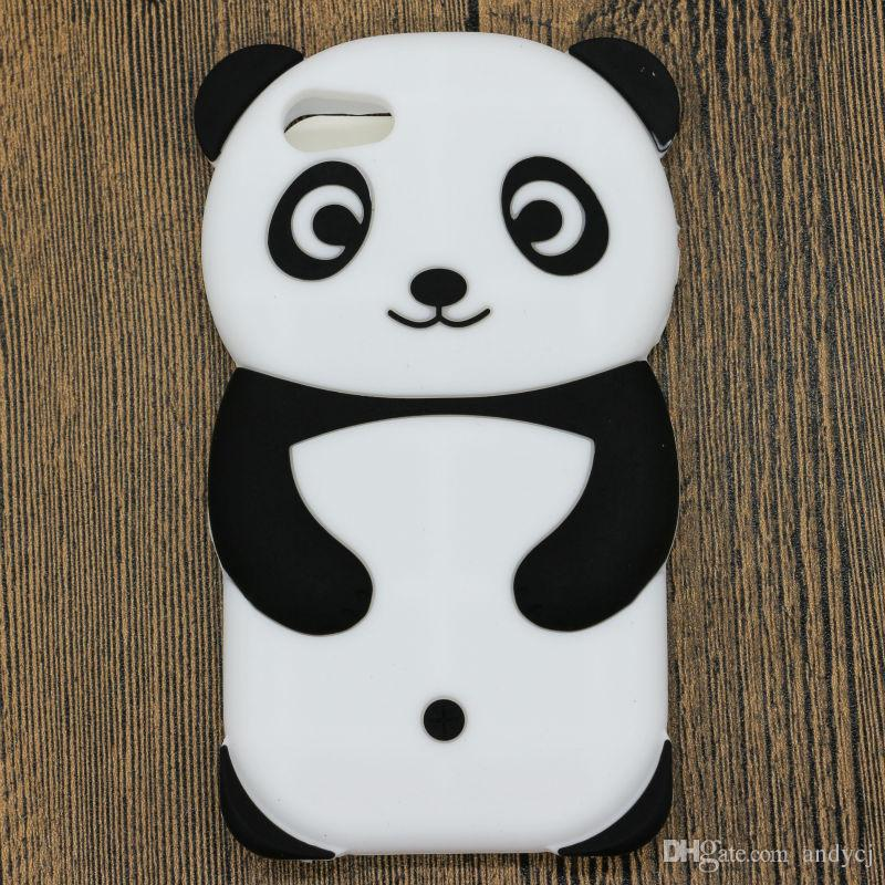 Cute 3D Panda Cartoon Animals Funny Soft and Comfortable Silicone Case Back Cover for iPhone 4S 5S 6S 7