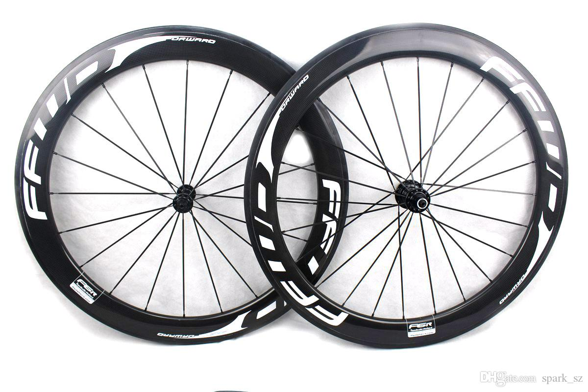 FFWD fast forward F6R carbon bike wheels 60mm all white decals clincher tubular road bicycle wheelset 700C width 25mm Powerway R13 hub