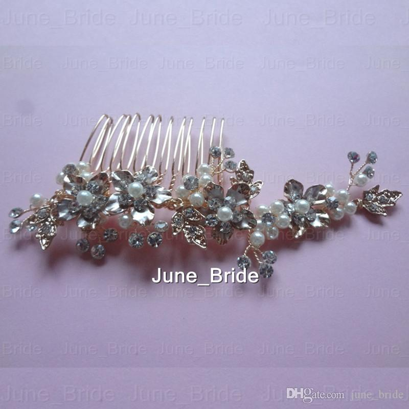 Real Photo Rose Gold Bridal Hair Comb Handmade Hot Sell Crystal