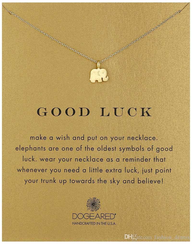 جديد dogeared القلائد مع بطاقة الذهب الفيل القلب مفتاح البرسيم حدوة المثلث سحر قلادة قلادة للنساء الأزياء والمجوهرات هدية