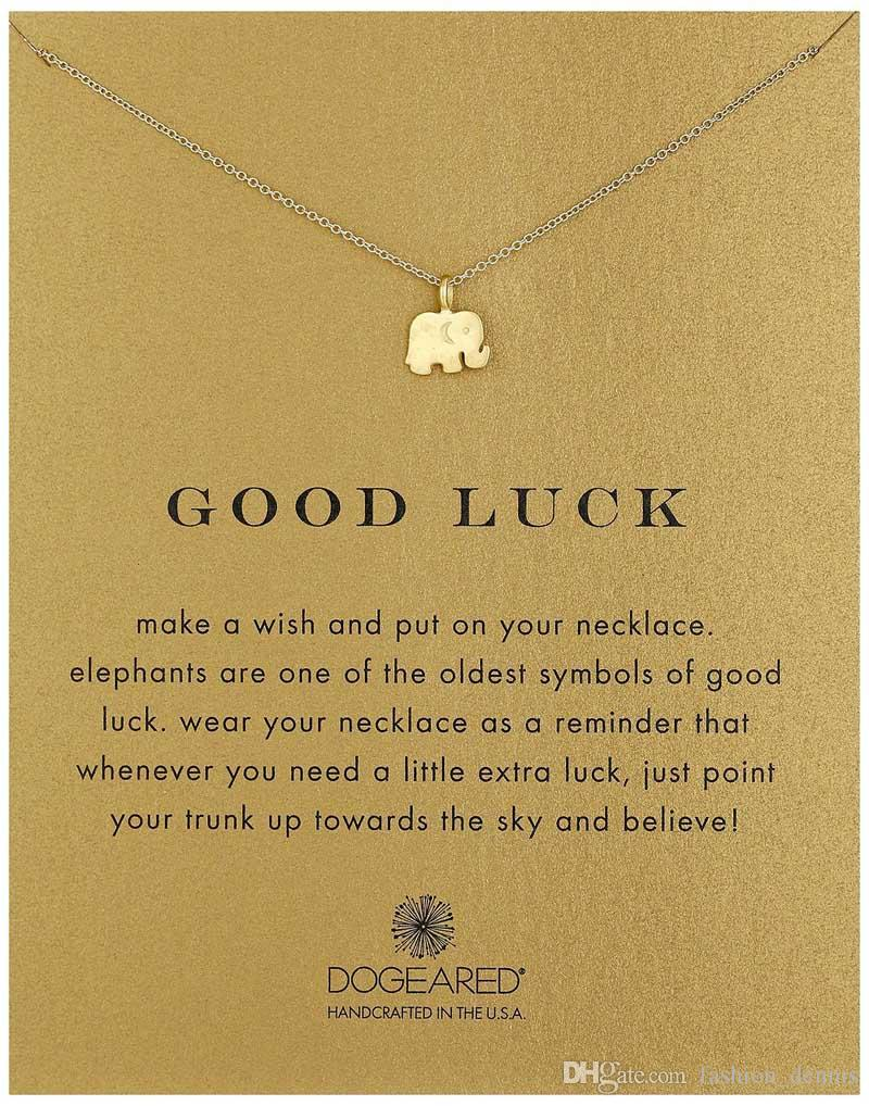 New Dogeared Necklaces With card Gold Elephant Heart Key Clover Horseshoe Triangle Charm Pendant Necklace For women Fashion Jewelry Gift