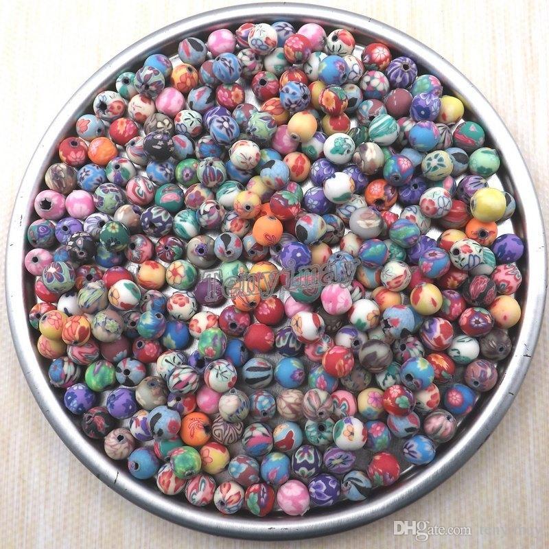 L'argilla rotonda del polimero di alta qualità 6mm borda il lotto misto dei gioielli DIY Trasporto libero all'ingrosso