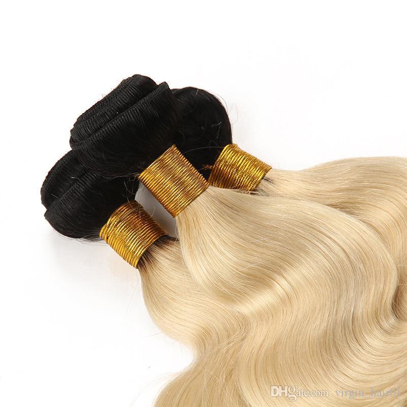 9A Virgin Brazilian Body Wave Human Hair Bundles Blonde Two Tone Body Wave Bundles 1B 613 Ombre Hair Bundles In Stock For Sale
