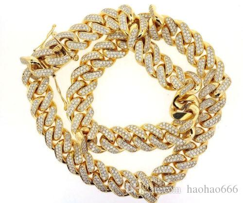iced cuban products jewelry chains real out gold cz diamond link bling hiphop chain miami capital