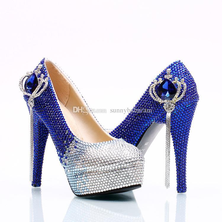 Wholesale Silver Royal Ombre Tassel Gem Cinderella Shoes Hand-made Prom Evening High Heels Beading Rhinestones Bridal Bridesmaid Wedding Sho