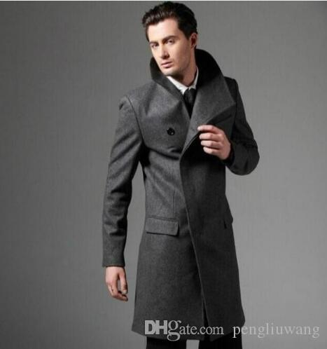 eb85d7256f5 2019 Casual Woolen Coat Men Trench Coats Single Breasted Overcoat Mens  Cashmere Coat Casaco Masculino Inverno England Black Grey From Pengliuwang