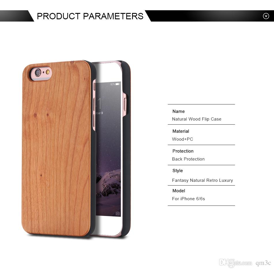 DHL Real Wood Phone Hard Cover Case For Iphone 6 6s 7 plus Luxury Custom Wooden Bamboo Back Shell For Apple