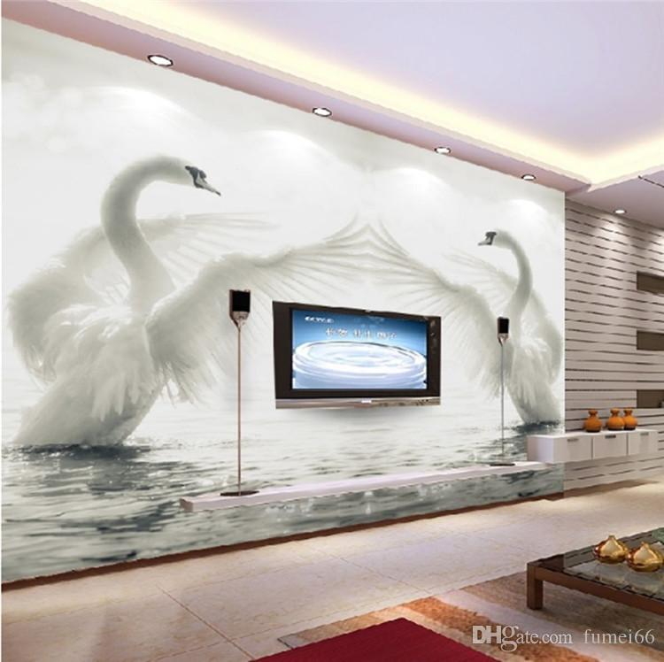 Living Room Background Animated: 3D Large Scale Murals Swan Lake TV Background Wallpaper