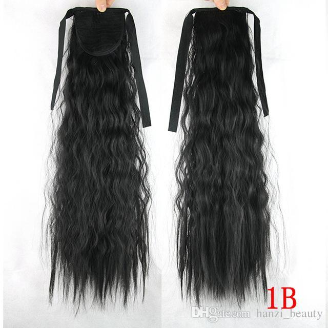 La fibra de alta temperatura sintética Afro Kinky Hair Pony Tail Hairpieces Cordón Ponytails Extensión del pelo