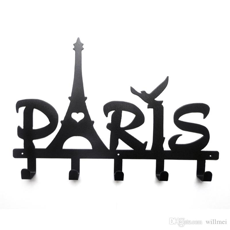 2018 Eiffel Tower Design Letter Series Robe Hook 5 Hooks