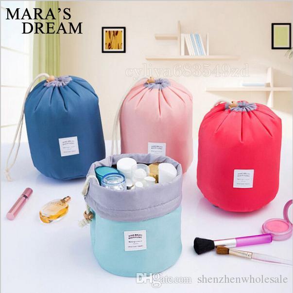 saco do telefone New coreano elegante grande capacidade em forma de barril Nylon Wash Organizer Armazenamento Viagem Dresser Pouch Maquiagem Cosméticos Bag para as Mulheres