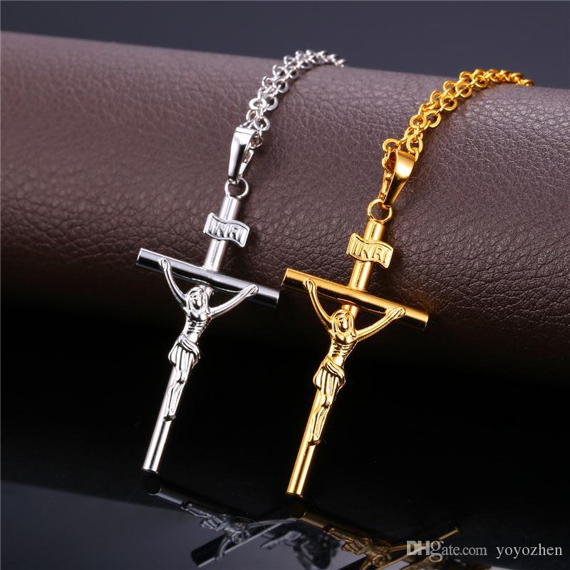 18 K chapado en oro crucifijo collar colgante platino plateado Jesús pieza collares de la joyería para las mujeres o los hombres