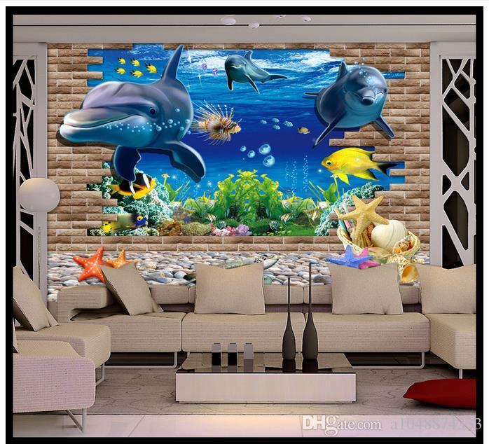Haut de gamme Personnalisé 3d photo papier peint peintures murales papier 3D Seaside World Dolphin TV Mur 3D salon fond d'écran fond mur décor à la maison