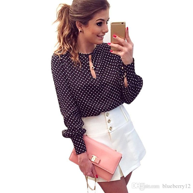 Slitta manica lunga Aperto Camicetta da donna Chiffon Hollow Sexy Casual Shirt Plus Size Donne Top Blusas Blusso Blusso Polka Dots Camicia