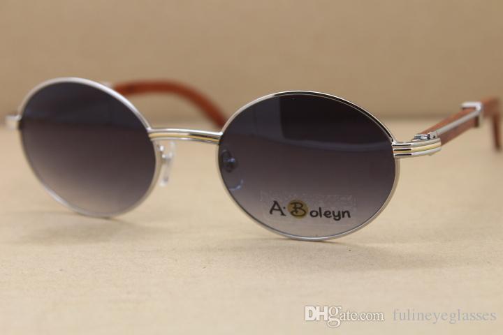 장식 나무 프레임 7550178 팔각형 나무 선글라스 라운드 선글라스 태양 안경 남자 유명한 실버 골드 금속 프레임 C 장식 크기 : 55-22-135