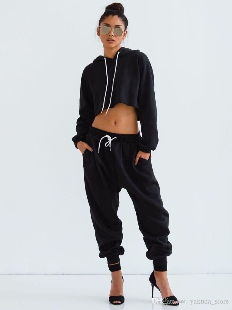02bc1a57c4f 2019 Wholesale 2017 Fashion Two Piece Set Tracksuits Pants Long Sleeve  Hoodies Sweatshirts Cotton Crop Tops Loose Casual Black Tracksuit S L From  ...
