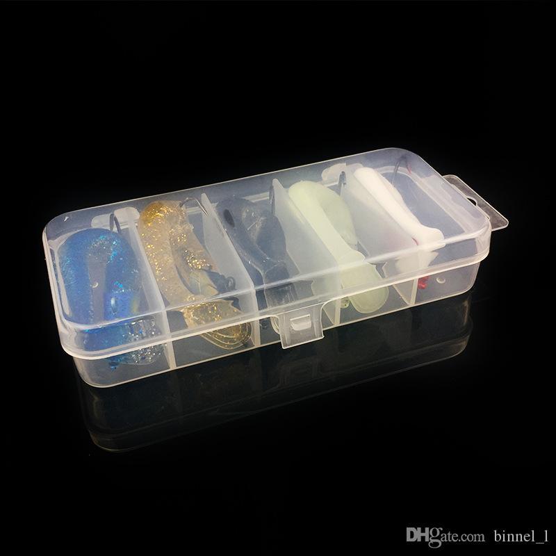 محفظة / مربع الرصاص الرقص + PVC الصيد السحر الطعوم لينة السحر 5 ألوان 11CM مختلط 22G الصيد هوكس PESCA معالجة صيد الاسماك اكسسوارات BL_34