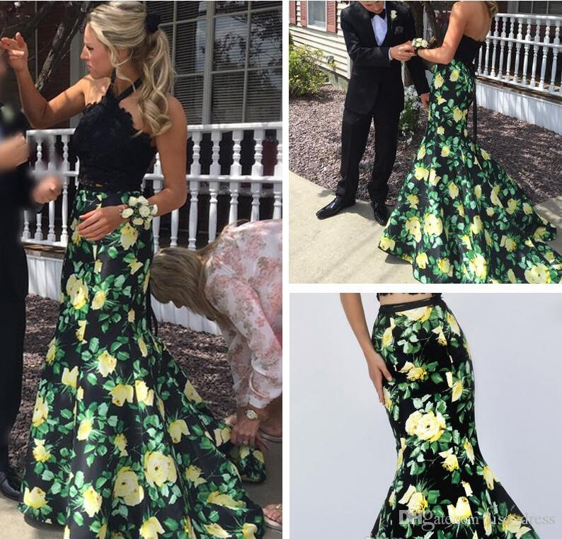 Custom Made Floral Print Two Piece Mermaid Prom Dress 2017 Halter Beaded Lace Taffeta Floor Length Flowers 2PC Pageant Evening Gown