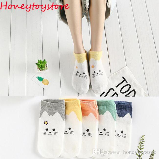 es de femmes coton mignon drôle chaussette chat dessin animé animal modèle occasionnel chaussettes courtes pour les femmes et les filles en gros