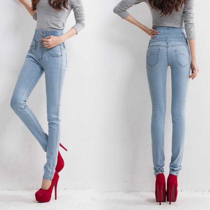 b229a23fba Wholesale- Jeans Womens High Waist Elastic Skinny Denim Long Pencil ...