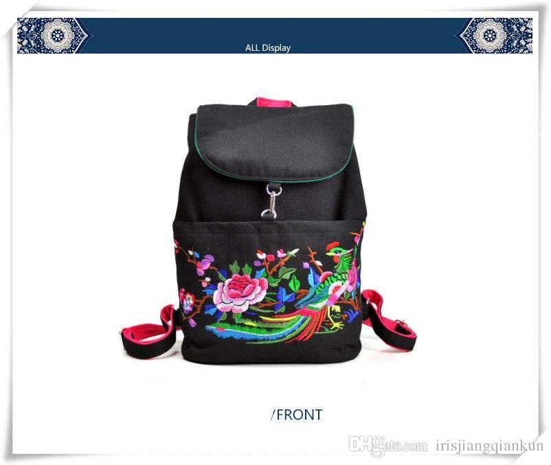 2016 Yunnan estilo popular bordado bolsa mochila mochila damas casuales bolsas de lona