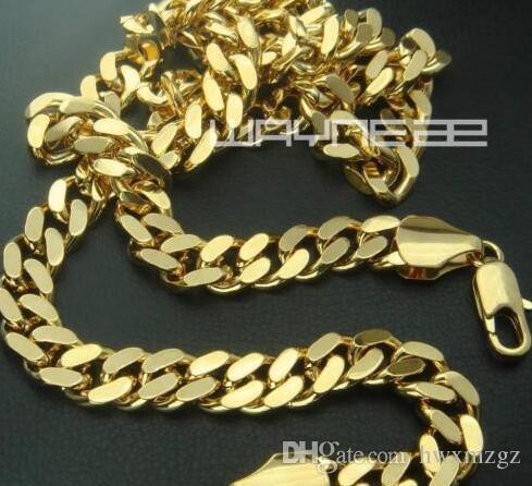 18k oro llenó la cadena sólida para hombre largo collar anillo de bordillo enlace joyas N227