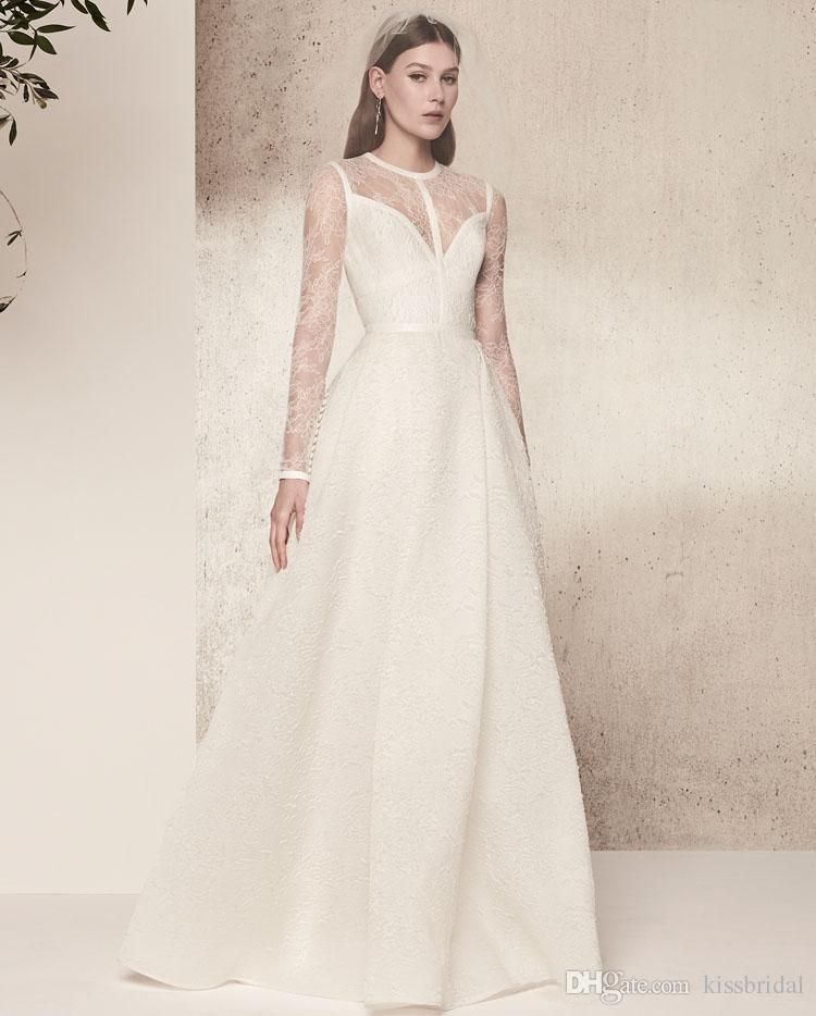 Cheia de renda mangas compridas elie saab vestidos de casamento simples summer beach sweep trem vestidos de noiva marfim vestido de recepção do casamento