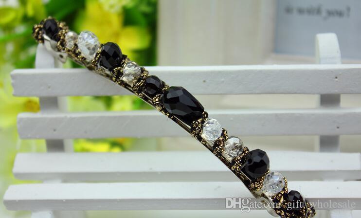 Commercio All'ingrosso delle donne di cristallo fascia dei capelli clip di capelli loop colorato nobile fascia di cristallo tornante Gioielli Accessori Capelli di modo