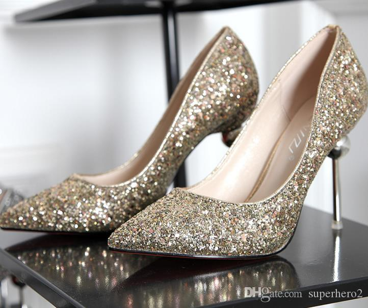 New Women Wedding Bling Sequined High-heeled Shoes Fashion Glitter Gorgeous  Party High Heel Pumps Shoes Gold Silver Red Christmas Gift 9.5cm Women  Wedding ... 3768886ea66c