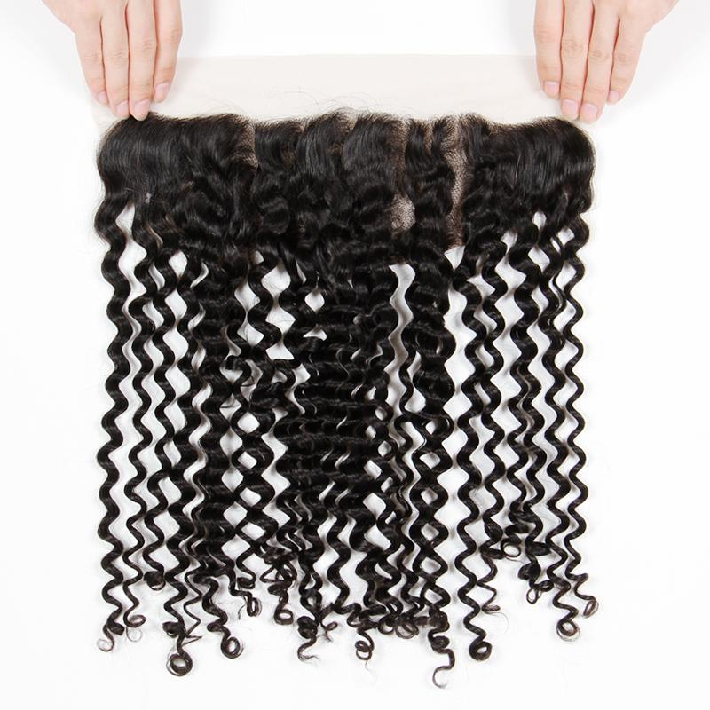 Cheap Deep Curly Ear To Ear Lace Frontal Closure 13*4 inch Bleached Knots 8A Grade Raw Indian Virgin Human Hair Free Part