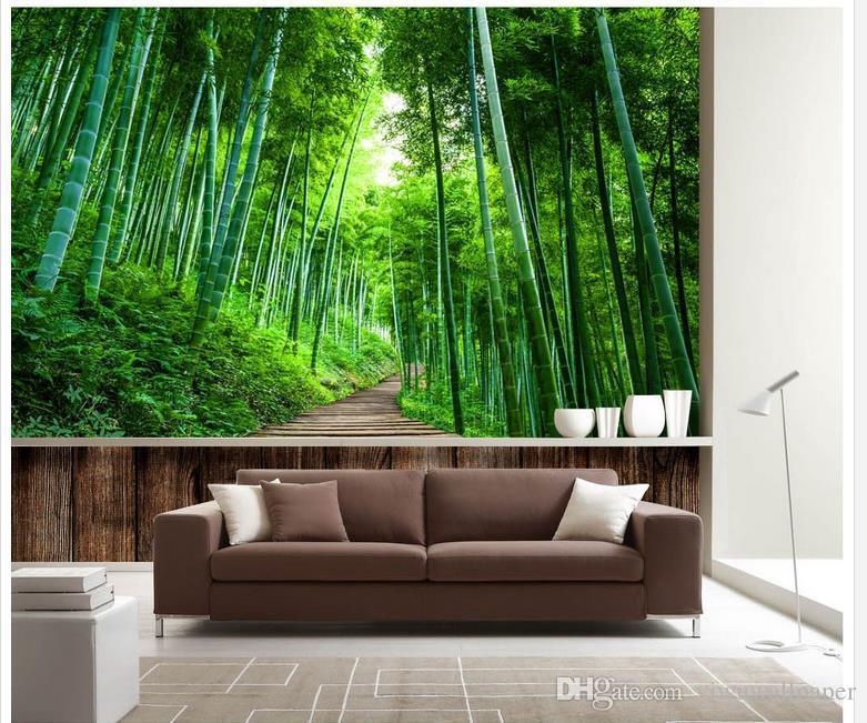 Grande parede de fundo expansão estrada placa de madeira 3D bambu mural 3d papel de parede 3d papéis de parede para TV pano de fundo