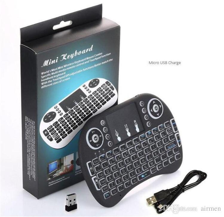 Retroiluminação Rii i8 Mini Teclado Sem Fio Backlight Teclado Gaming Air Mouse Controle Remoto para PC Pad Caixa de TV Android Andriod Xbox360 PS3 OTG